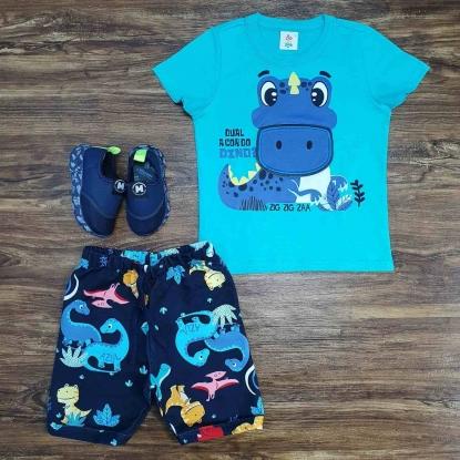 Conjunto Dino com Camiseta Azul Infantil