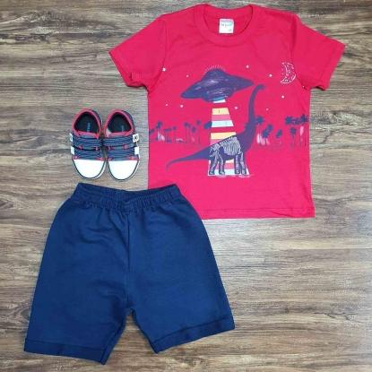 Conjunto Dinossauro com Camiseta Vermelha Infantil