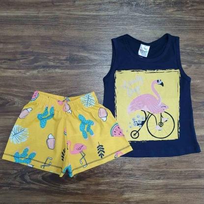 Conjunto Flamingo Amarelo e Azul Infantil