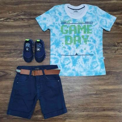 Conjunto Game Day com Bermuda Azul Infantil