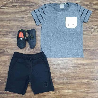Conjunto Have com Camiseta Cinza e Bermuda Preta Infantil