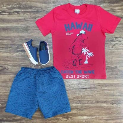 Conjunto Hawai com Camiseta Vermelha Infantil