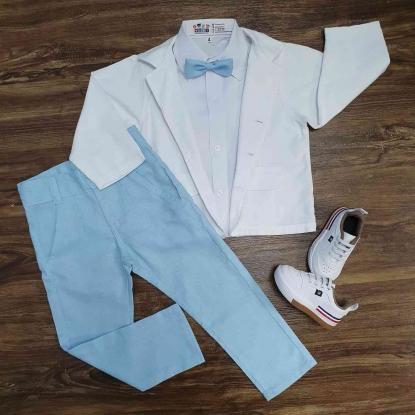 Conjunto Longo Batizado Branco e Azul Infantil