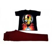 Calça Vinho com Camiseta Homem de Ferro