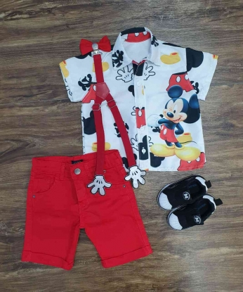 Conjunto Mickey Com Suspensório e Gravata Infantil