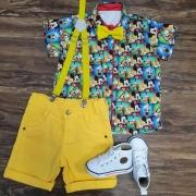 Conjunto Mickey Amigos Amarelo Infantil
