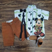 Conjunto Vermelho Mickey Safari Branca Infantil
