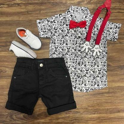 Conjunto Mickey Mouse com Bermuda e Suspensório e Gravata Infantil
