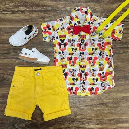 Conjunto Mickey Mouse com Suspensório Amarelo e Gravata Infantil