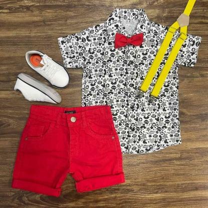 Conjunto Mickey Mouse com Suspensório e Gravata Infantil