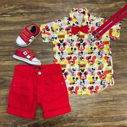 Conjunto Mickey Mouse com Suspensório e Gravata Vermelho Infantil