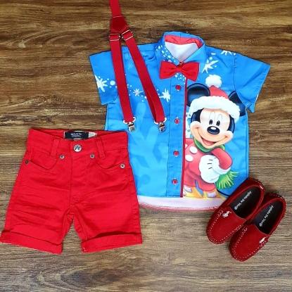 Conjunto Vermelho Mickey Natal Infantil