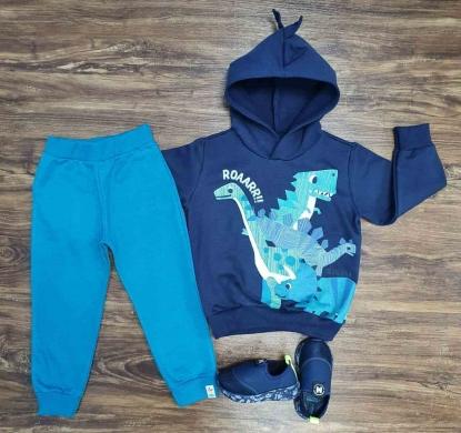 Conjunto Moletom Azul Dinos Infantil