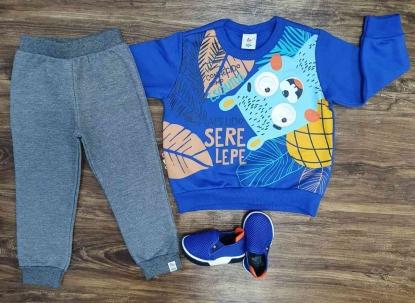 Conjunto Moletom Serelepe Azul Infantil