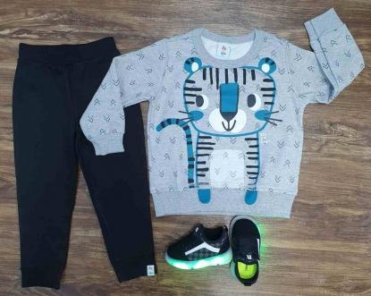 Conjunto Moletom Tiger Cub Cinza Infantil