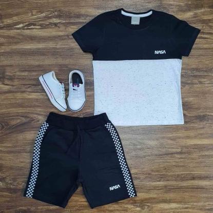 Conjunto Nasa com Camiseta Preta e Branca Infantil