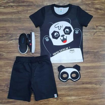 Conjunto Panda com Máscara Infantil