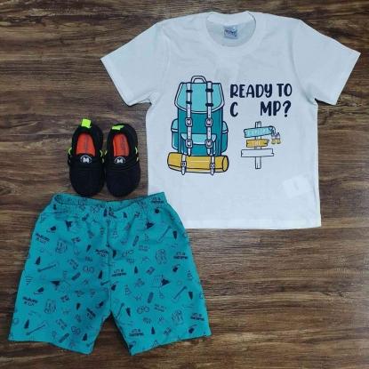 Conjunto Ready To Camp com Camiseta Branca Infantil