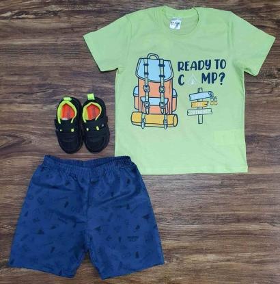 Conjunto Ready To Camp com Camiseta Verde Infantil
