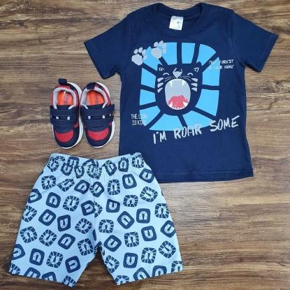 Conjunto Roar Some com Camiseta Azul Infantil