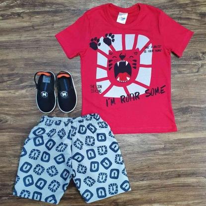 Conjunto Roar Some com Camiseta Vermelha Infantil