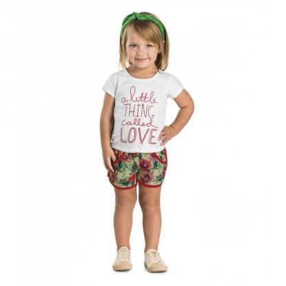 Conjunto Rovitex Blusa Com Shorts Little Love Branco