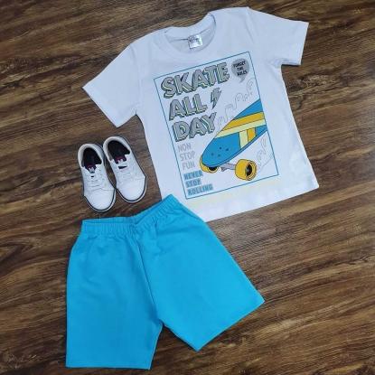 Conjunto Skate com Camiseta Branca Infantil