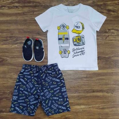 Conjunto Skateboard Branco e Azul Infantil