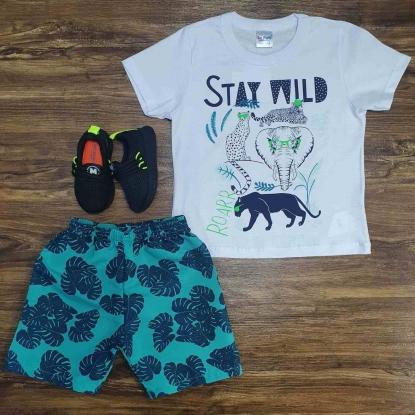 Conjunto Stay Wild Roar com Camiseta Branca Infantil