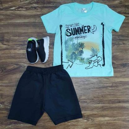 Conjunto Summer com Bermuda Preta Infantil