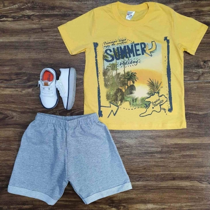 Conjunto Summer com Camiseta Amarela Infantil