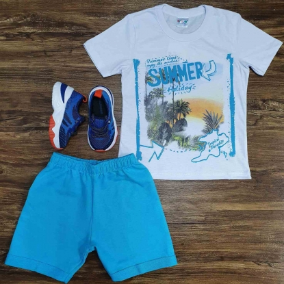 Conjunto Summer com Camiseta Branca Infantil