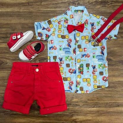 Conjunto Super Mario com Suspensório e Gravata Infantil