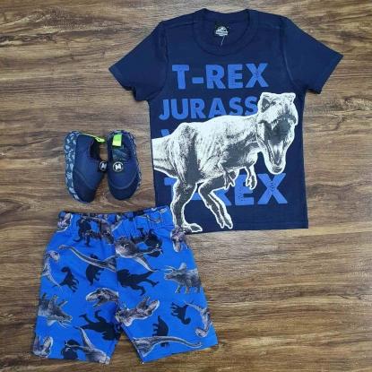 Conjunto T-Rex com Camiseta Azul Infantil