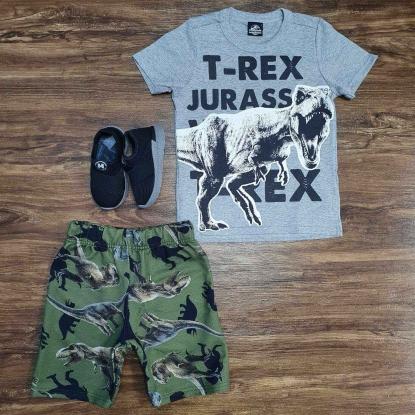 Conjunto T-Rex Jurassic Verde e Cinza Infantil