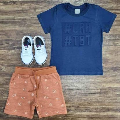 Conjunto TBT com Camiseta Azul Infantil