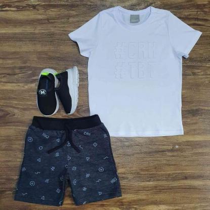 Conjunto TBT com Camiseta Branca Infantil