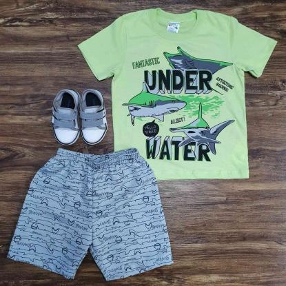 Conjunto Under Water com Camiseta Verde Infantil