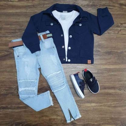 Jaqueta Azul com Camiseta Branca e Calça Infantil