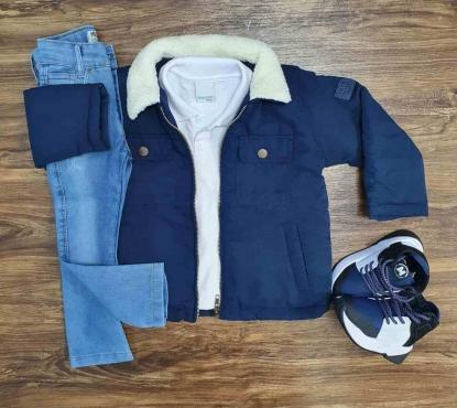 Jaqueta Azul Marinho com Polo e Calça Jeans Infantil
