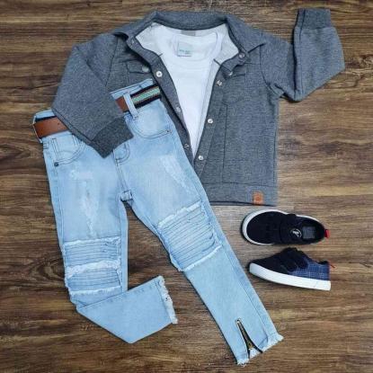 Jaqueta Cinza com Camiseta e Calça Jeans Infantil