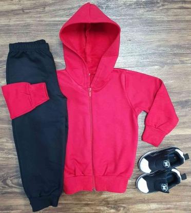Jaqueta com Capuz Vermelha e Calça Moletom Infantil