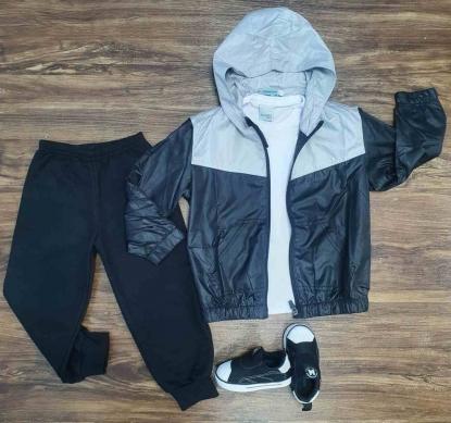 Jaqueta Corta Vento com Calça mais Camiseta Infantil