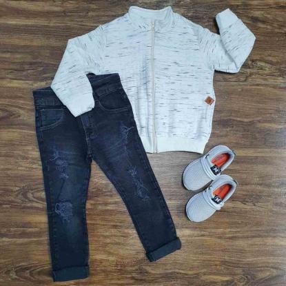 Jaqueta Creme com Calça Jeans Infantil