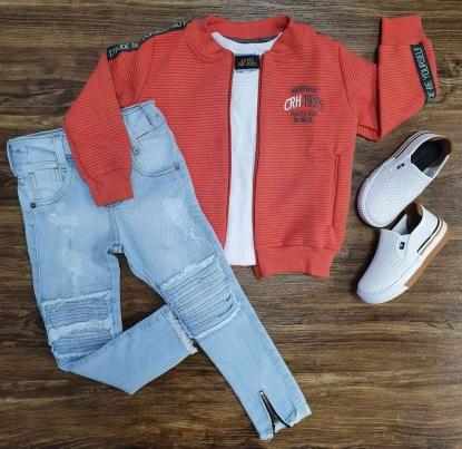 Jaqueta CRH 1975 com Camiseta e Calça Jeans Infantil
