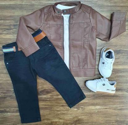 Jaqueta De Couro Marrom com Polo e Calça Jeans Infantil