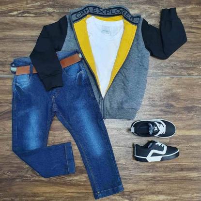 Jaqueta Explorer Cinza com Camiseta e Calça Jeans Infantil