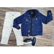 Jaqueta Jeans Escura mais Camisa com Calça Infantil