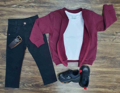 Jaqueta mais Camiseta com Calça Jeans Infantil