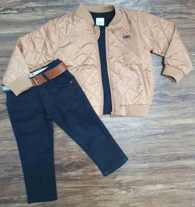Jaqueta Marrom com Camiseta e Calça Jeans Infantil